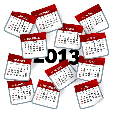 2013 calendar template represented as months pages whirlwind Vector