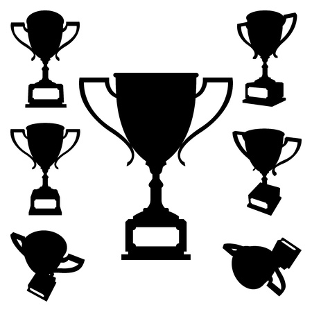 award winning: Set of sport cups silhouettes on white background. Vector Illustration