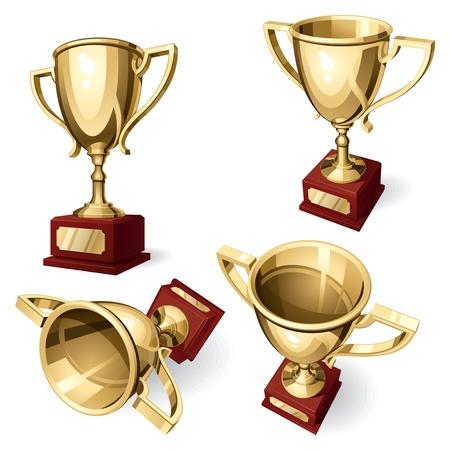 trofeo: Deporte de la FIFA. Conjunto de cuatro puntos de vista sobre fondo blanco. Vectores
