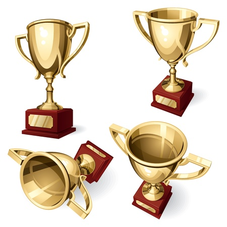 Sport Cup. Set of four views on white background. Vector