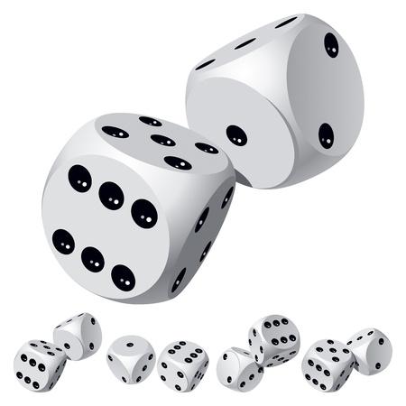 Set of dice rolls. Stock Vector - 12041660