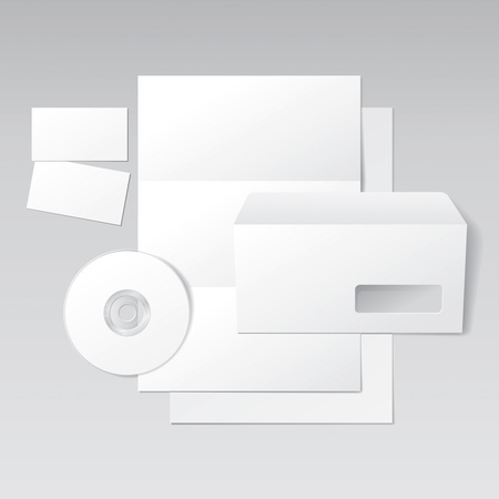 Blank Letter, Envelope, Business cards and CD template. Vector Illustration Stock Vector - 12171211
