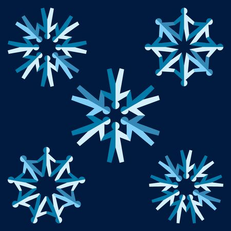 Set of origami people snowflakes. Vector illustration Stock Vector - 12171209