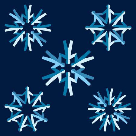 team cooperation: Set of origami people snowflakes. Vector illustration Illustration