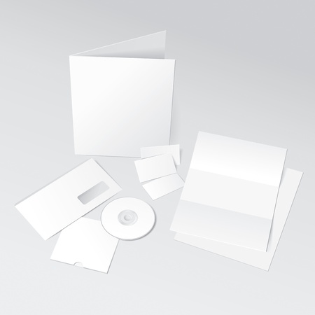 Blank Letter, Envelope, Business cards, CD and Folder template. Vector Illustration Vector