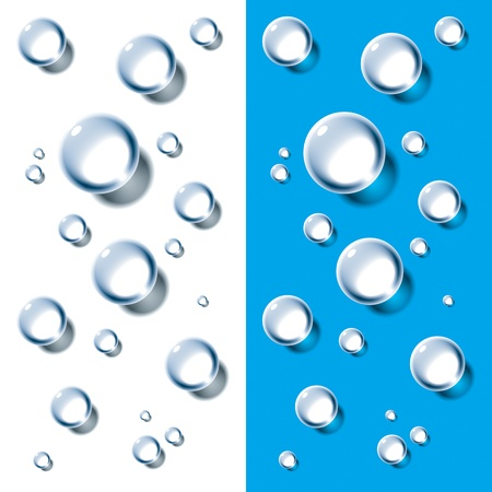 water surface: Water Drops on White and Cyan background. Vector illustration