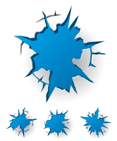 holes: White cracked background with blue hole. Vector Illustration Illustration