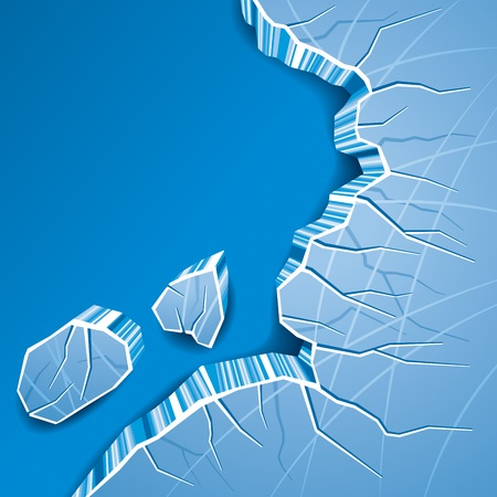 Blue Cracked Ice Background. Vector Illustration