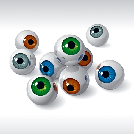 Group of eyeballs on white background. Vector Illustration Vector