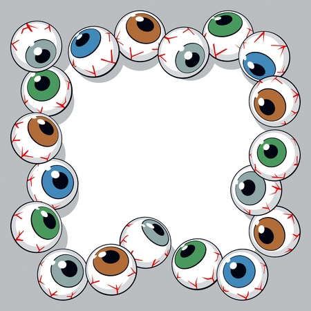 Eyeballs frame on white background. Vector Illustration Vector