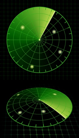 radio beams: Radar screen target detection. Vector Illustration
