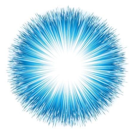 Niebieski wybuch światła. Ilustracji wektorowych