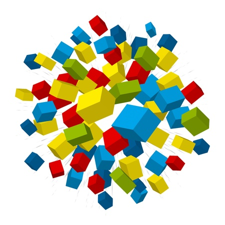Colored boxes explosion on white background. Vector illustration