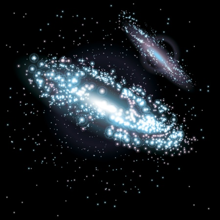 two way: Two Galaxies at black starry background. Vector Illustration