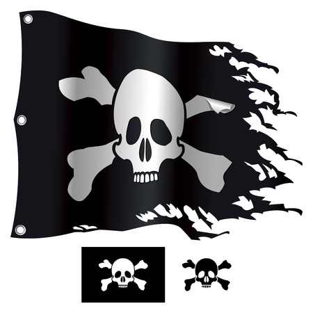 jolly roger pirate flag: Jolly Roger flag  Vector illustration