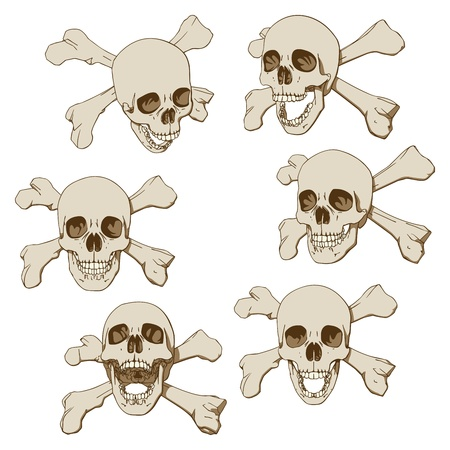 Set of six drawings of human skull with crossbones  Vector illustration Vector