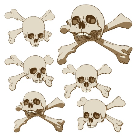 Set of five drawings of human skull with crossbones  Vector illustration Vector