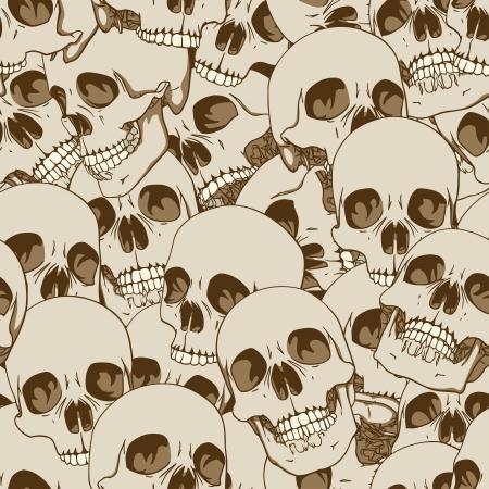 skull background: Human skulls seamless background illustration