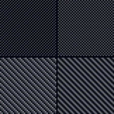 fibra de carbono: Conjunto de cuatro ilustraciones de los patrones de fibra de carbono sin costura