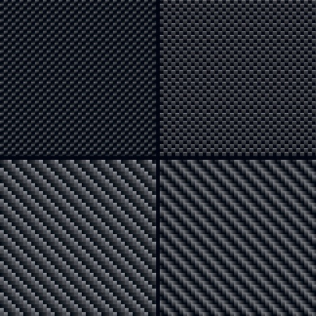 Set of four carbon fiber seamless patterns Illustration Vector