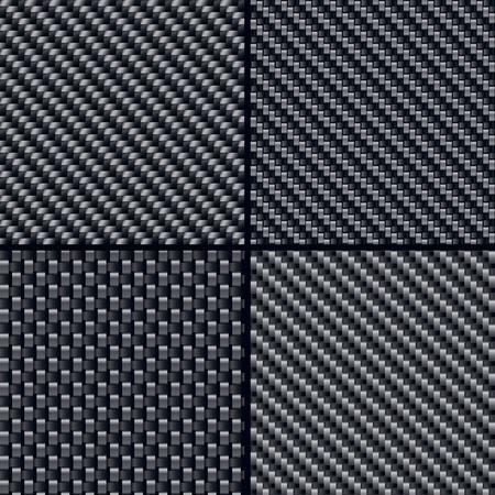 carbon fiber: Conjunto de cuatro ilustraciones de los patrones de fibra de carbono sin costura