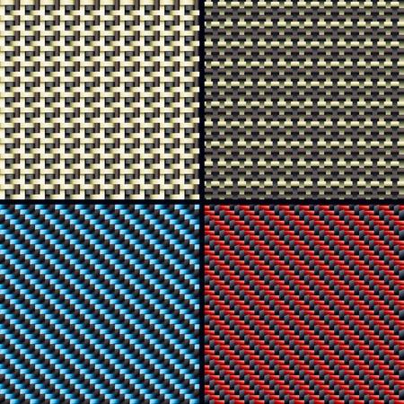 fibra de carbono: Juego de fibra de carbono cuatro, kevlar y tejidos para la decoraci�n perfecta ilustraci�n vectorial patrones Vectores