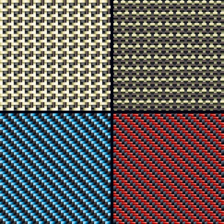 kevlar: Set of four carbon fiber,  kevlar and decorative fabric seamless patterns  Vector Illustration