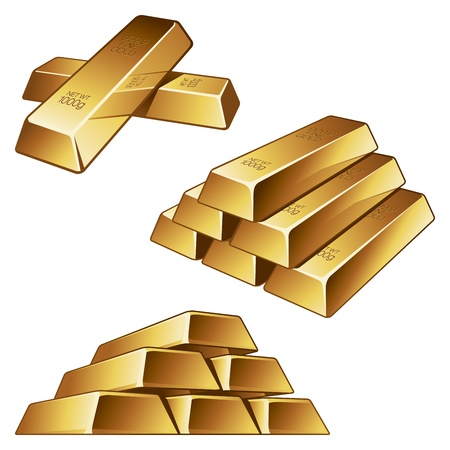 gold ingot: Three groups of gold bars on white background illustration