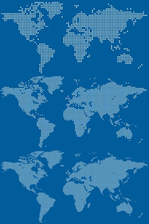 world group: Set of dotted  circular pixel  world maps illustration Illustration