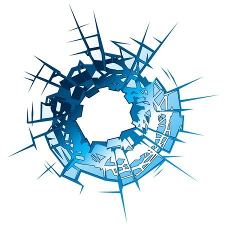 vetro rotto: Foro di proiettile in illustrazione vettoriale di vetro Vettoriali