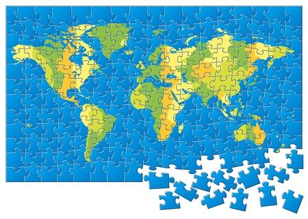 World map puzzle  illustration Vector