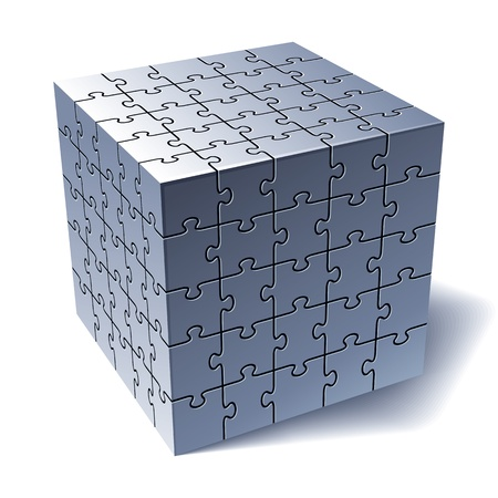 merger: Jigsaw puzzle cube  All Parts Together  illustration