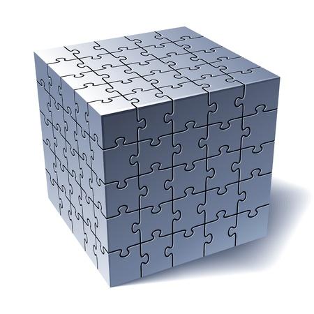 individualit�: Jigsaw Puzzle cubo Tutte le parti insieme illustrazione