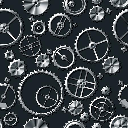 turning operation: Metal gears seamless background. Vector Illustration Illustration