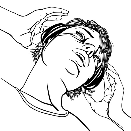 portrait young girl studio: Girl with headphones. B&W Silhouette. Vector illustration