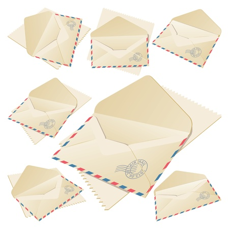 old envelope: Set of six open Envelopes  Vector Illustration