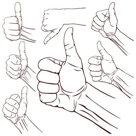 thumbs down: Set of seven hands with thumb finger up illustration