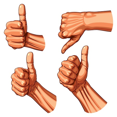 Set of four hands with thumb finger up  Vector illustration Vector