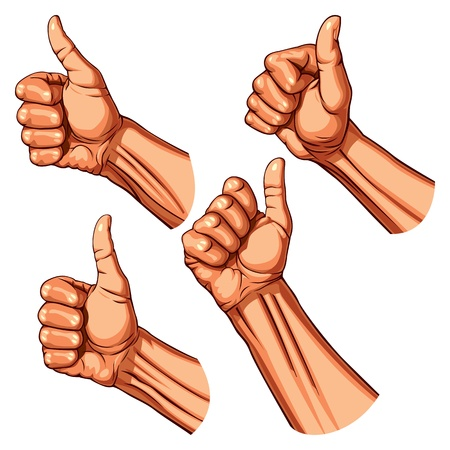 human thumb: Set of four hands with thumb finger up  Vector illustration
