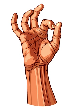 right hand: OK Hand Gesture illustration