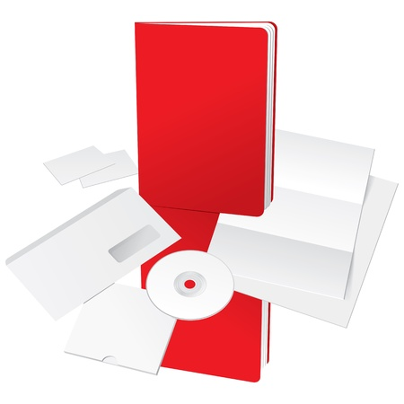 Blank Letter, Envelope, Business cards, CD and Red Folder template. Illustration Vector