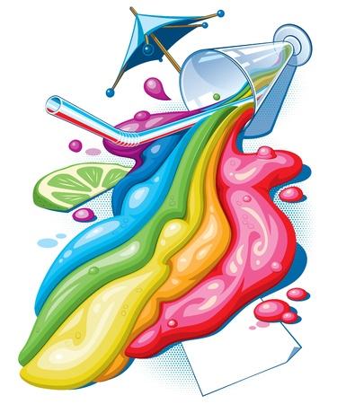 rainbow cocktail: Cocktail arcobaleno isolato su bianco illustrazione