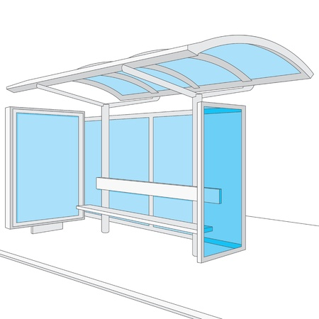 space station: Bus stop  Empty design template for branding
