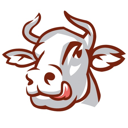 Head of Licking Cow. Stylized Drawing. Stock Vector - 16424756