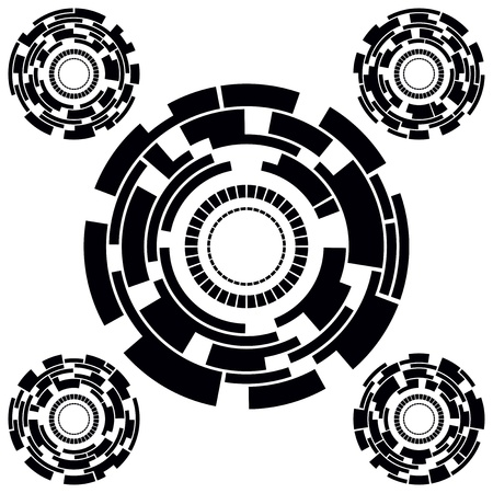 Set of Five Black and White Futuristic Circle Charts. Vector Illustration