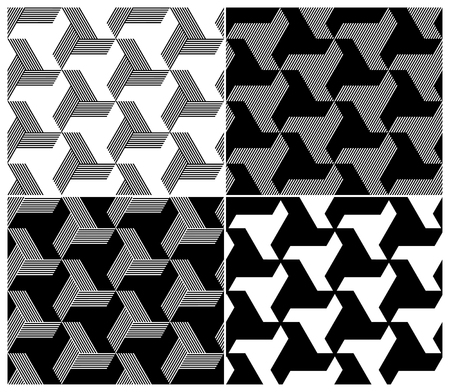 repeatable: Set of Four B W Seamless Patterns  Triangle Elements  Vector Illustration