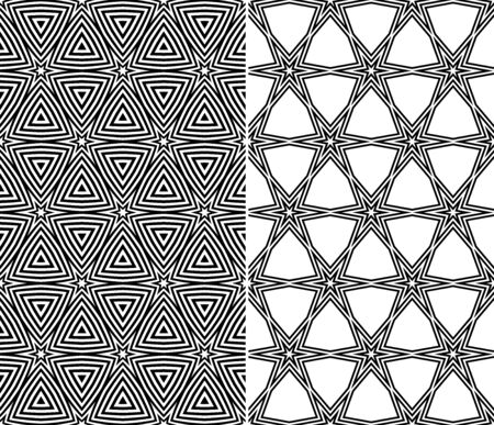 repeatable: Set of Two Seamless Starry Patterns  Vector Illustration