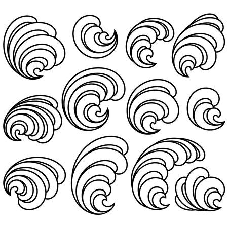 Set of Decorative Floral Curls. Vector Illustration