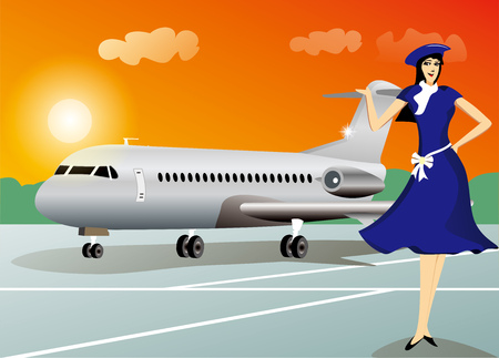 Stewardess with airplane travel background Vector