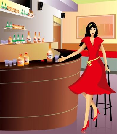bar interior: Women drinking in a classic interior corner of the bar